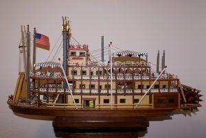 Construye tu propio soporte para maquetas de barcos, maqueta de barco de río con bandera estadounidense