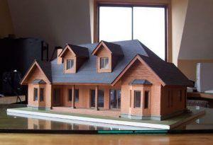 Maqueta de casa de estilo moderno, hecha con madera