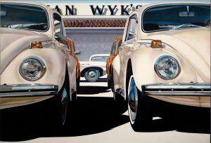 Long Beach, California, pintura realizada por Don Eddy, en 1944, utilizando aerógrafos para dar color a dos coches de diseño antiguo