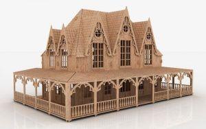 Maqueta de casa estilo romántico, construida con piezas impresas a través de la tecnología 3D