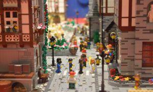 Maqueta de lego, pueblo invernal